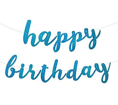 (Blue Glittery Happy Birthday Banner Bunting for Boy Birthday Party Baby Shower Anniversary Celebrations Decorations)