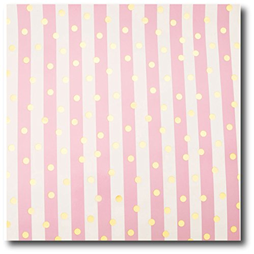20 Ft Pretty Dusty Pink and White Stripe Giftwrap with Foil Gold Dots - 30