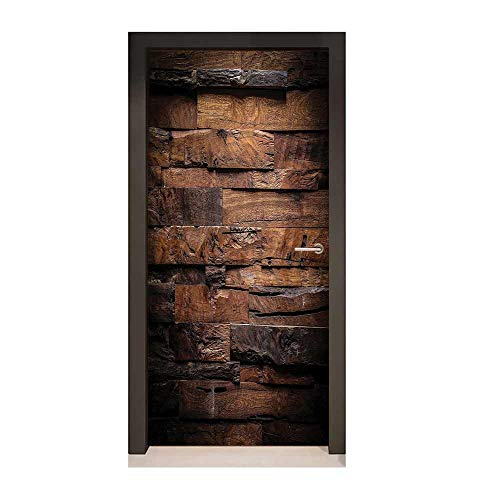 Homesonne Chocolate Door Decal Rough Dark Timber Texture Image Rustic Country Theme Hardwood Carpentry for Bedroom Decoration Brown Dark Brown,W17.1xH78.7