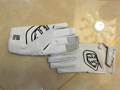 (KHFVJ Cycling MTB Mountain Bike Gloves Bicycle Moto Motorcycle Racing Motocross Gloves White L)