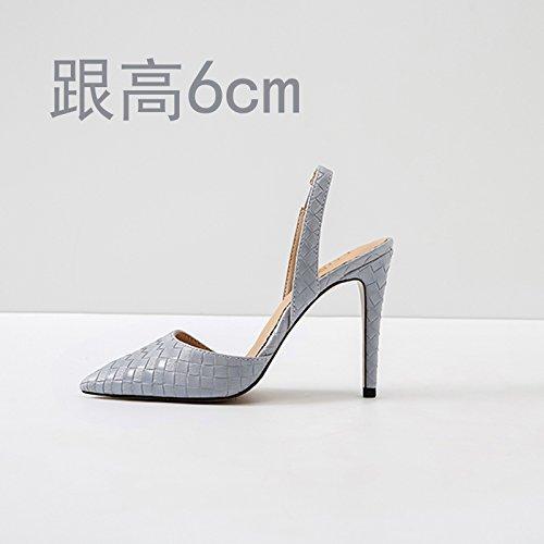 Vivioo Høje Hæle Sandaler Høj Hæl Sommer Baotou Sandaler Højhælede Stilethæl Sko Lille Størrelse Lysegrå 6cm Ux6glAr