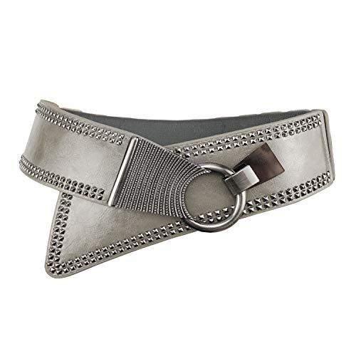Women's Fashion Vintage Wide Waist Belt Elastic Stretch Steampunk Waistband With Interlock Buckle Grey