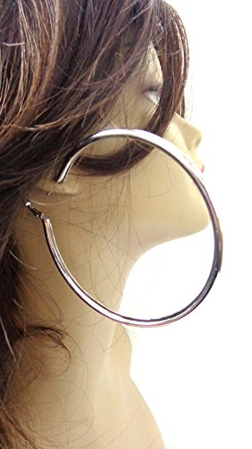 Large Thick Puffy 4 Inch Silver Tone Basketball Wives Hoop Earrings