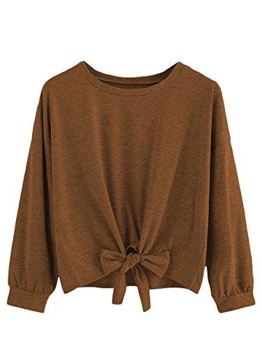 Romwe Women's Cute Knot Front Drop Shoulder Sweatshirt Plain Round Neck Long Sleeve T-Shirt Crop Top Blouse Brown - Pullover Sleeve Girls Long