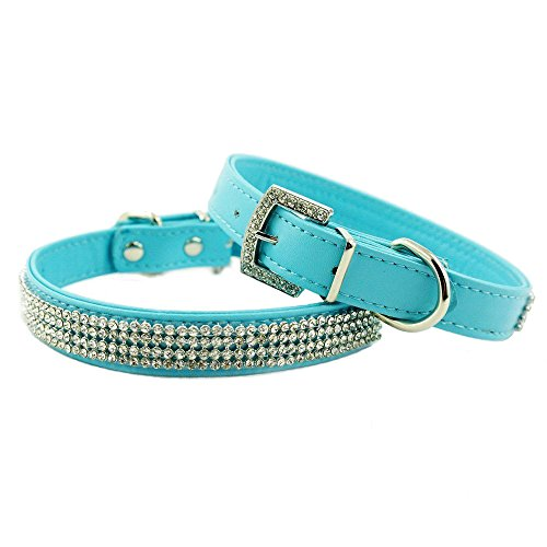 Diamante Leather - Enjoying Full Rhinestone Bling PU Leather Diamante Pet Dog Cat Collars