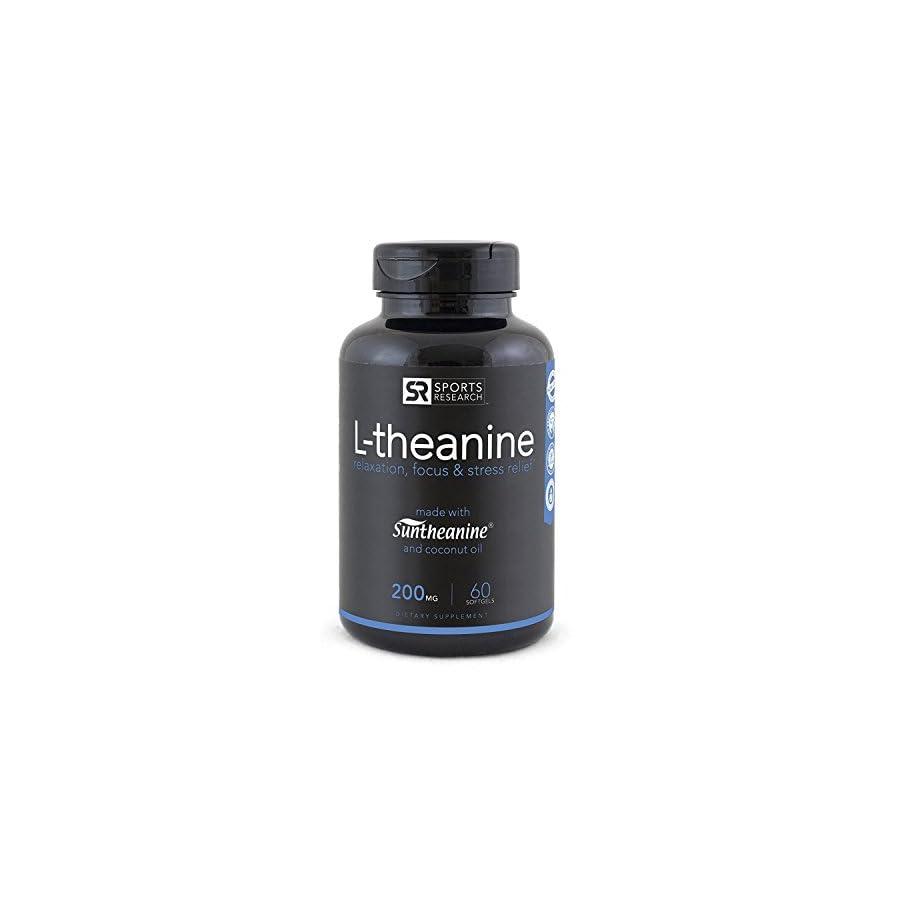 Suntheanine® L Theanine 200mg (Double Strength) in Cold Pressed Organic Coconut Oil; Non GMO & Gluten Free 60 Liquid Softgel, Made in USA