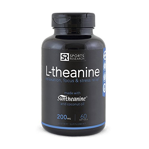 Suntheanine® L Theanine 200mg (Double Strength) in Cold Pressed Organic Coconut Oil; Non GMO & Gluten Free 60 Liquid Softgel, Made in USA