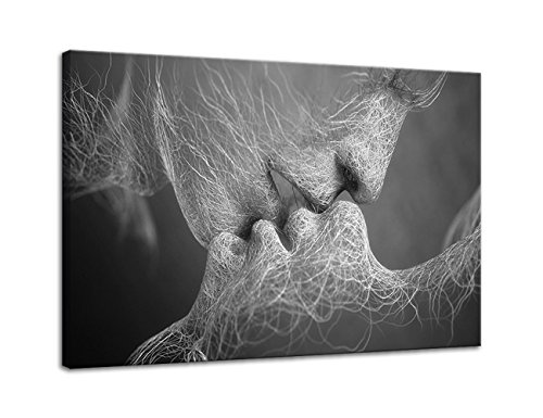AMEMNY Wall Decor Black and White Love Kiss Abstract Art on Canvas Painting Wall Art Adam and Eve Picture Print Modern Home Decor Framed Ready to Hang (24''Hx36''W, Artwork-02)