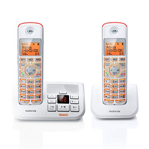 Motorola DECT 6.0 Cordless Big Backlit Button Phone with 2 Handsets, Caller ID and Answering System K702-White (Certified Refurbished)
