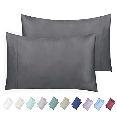 California Design Den 600 Thread Count Pillowcase Set of 2, 100% Long-Staple Combed Cotton, Breathable, Soft Sateen Weave Luxury Hotel Quality Pillow Cases (Standard, Dark Grey)