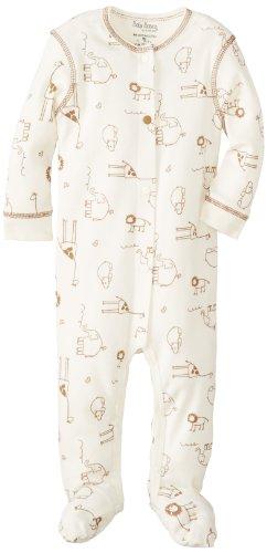 Kushies Unisex-Baby Newborn Sleeper,  Ecru Safari, 6 - Sleeper Kushies Cotton