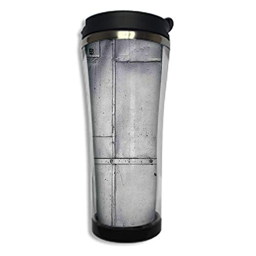 Customizable Travel Photo Mug with Lid - 8.45 OZ(250 ml) Stainless Steel Travel Tumbler, Makes a Great Gift by,Industrial,Steel Panels Industrial Wall Theme Aluminum Background Futuristic Engineering ()