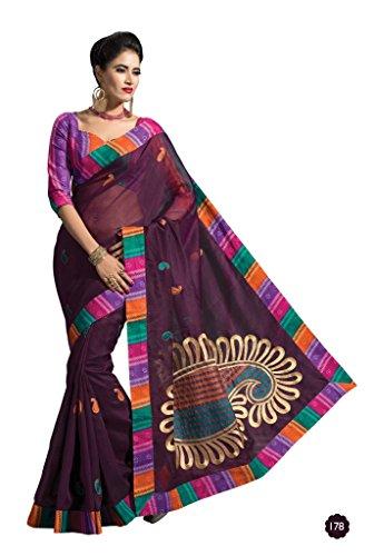 Jaanvi-Fashion-Designer-Purple-Embroidered-Cotton-Saree