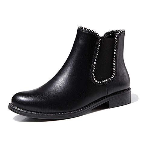 LIURUIJIA Women's Elastic Short Rain Boots Waterproof Low Heel Elastic Slip On Ankel Chelsea Booties Black 38