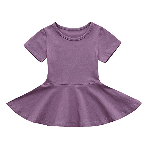 Hatoys Candy Color Sundress,Toddler Kids Baby Girl Short Sleeve Solid Princess Tutu Casual Dress (3T, Purple)