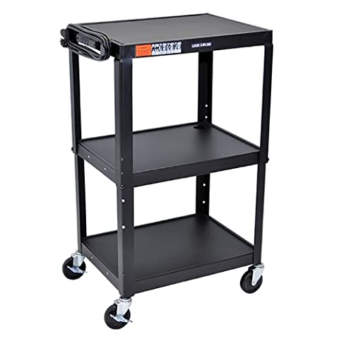 Offex AVJ42 - Adjustable Height Steel Audio Video Cart - Three Shelves - Video Conference Carts