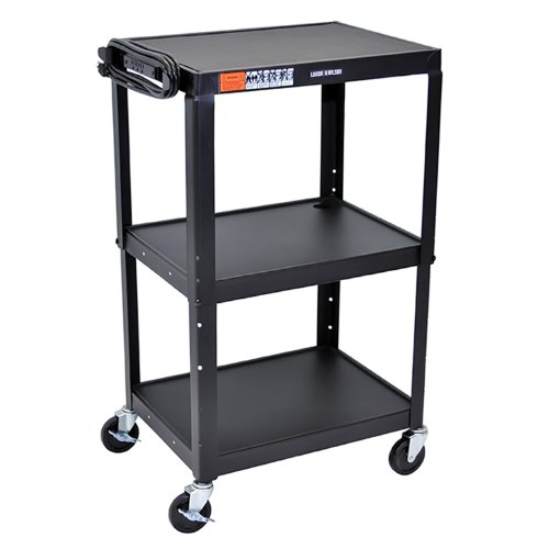 Luxor AVJ42 Three Shelves Adjustable Height Steel A/V Cart Black