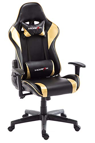 Morfan Swivel Office Gaming Chair PU Leather Racing Style Computer Chair & Lumbar Pillow with Massage F Series (Black/Gold)