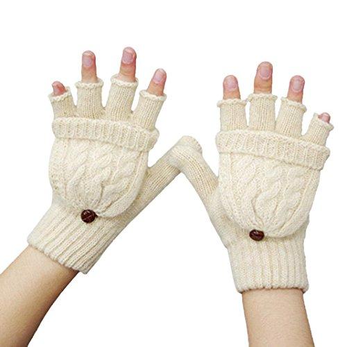 Guantes calientes para Mujeres,Ouneed ® Invierno mantener caliente calentador guantes sin dedos lana Beige