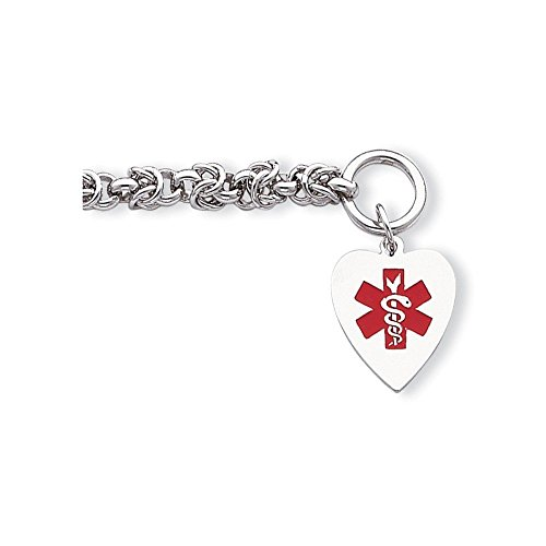 PriceRock Sterling Silver Engraveable Enameled Heart Medical ID Bracelet 7.75 Inches (0.71 Inches Wide)