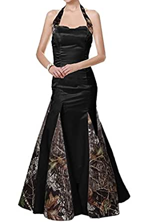 DianSheng Camouflage Mermaid Wedding Bridal Bridesmaid Dress Prom Black us6