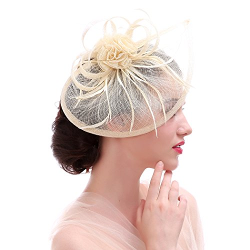 Fascinator Hat Bow Mesh Ribbons Feather Cocktial Tea Party Headwear for Girls and Women (Ivory) (Beige Hat Mesh)