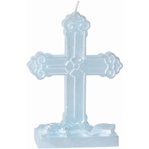 Amscan 17985321 Baptismal Candle Cross Flat Molded Party