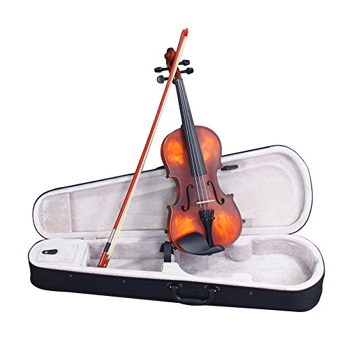 Classic Solid Wood Violin Retro Color with Shoulder Rest Tuner Strings Bow Rosin Case for Violin Beginner (4 / 4 full size) by Teekland