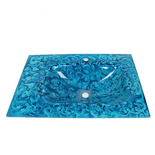 SLTWX Bathroom Sink Artistic Tempered Glass Vessel Vanity Hand Paint Countertop Bowl Vessel Tempered Glass Basin