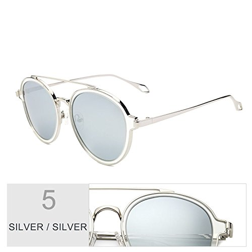 Sol Gafas Sol De De Que Dobles Caminan Eyewear Polarizadas Silver Gris Puentes Perfecta Lentes Silver Redonda Negro Para Uv400 TIANLIANG04 Para Gafas Mujer De Mujeres qt57OO