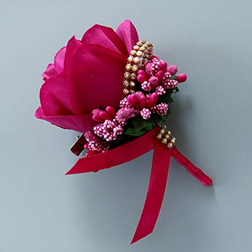 cici store 1Pc Wedding Artificial Brooch Bouquet,Glitter Rhinestone Bride Groom Prom Boutonniere with Pin,Rose Red ()