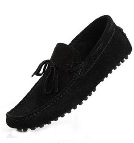 Happyshop (tm) Mocassini Uomo In Pelle Scamosciata Mocassino Casual Mocassini Con Nappe Slip-on Driving Shoes Nero