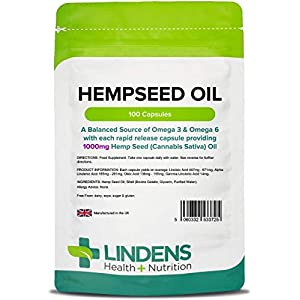 Lindens Hempseed Oil 1000mg Capsules – Containing Essential Fatty Acids, Omega 3 & 6 – Supports Heart Health and Lowers Cholesterol – 100 Capsules