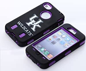 MagicSky Plastic Silicone Rugged Hybrid UK WildCats Pattern Case for Apple iPhone 4 4S 4G - 1 Pack - Retail Packaging - Purple