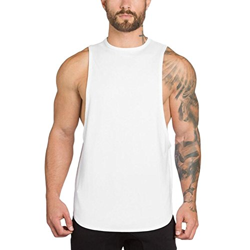 (❤️Ywoow❤️, Men's Gyms Bodybuilding Fitness Muscle Sleeveless Singlet T-Shirt Top Vest Tank White)