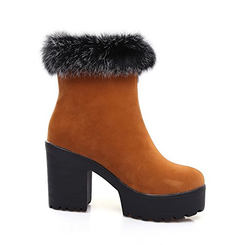 AmoonyFashion Adornment Toe Boots Closed Rough Materials Blend Womens Heels Solid Brown with SrZaqxSwC
