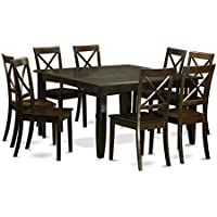 East West Furniture PFBO9-CAP-W 9-Piece Dining Table Set, Cappuccino Finish