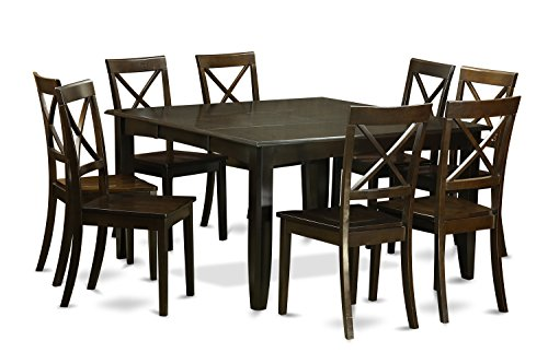 East West Furniture Dining Set, 9-piece, Cappuccino Finish (Extendable 8 Dining Table Seats)