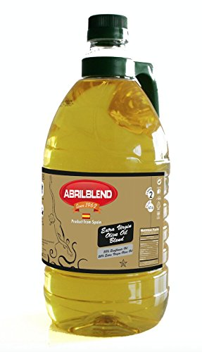 Aceites Abril Sunflower Oil and Extra Virgin Olive Oil Blend, 68 oz Bottle, High Temperature Frying Oil by Aceites Abril