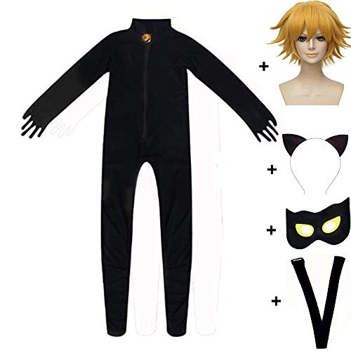 Kid's Magic Ladybug Cat Cosplay Jumpsuit Boy's Girl Costume Black Cat Noir Cosplay Costume (L (125-135CM), Suit + Wig)