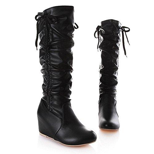Black LongFengMa Wedge Flat Mid Fur Heel Boots Soft PU Winter Calf Women's Hidden Uwq4U7a