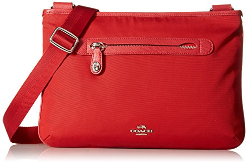 Coach Small Nylon Crossbody Shoulder Bag Style 36707 (Silver/True Red) by Coach