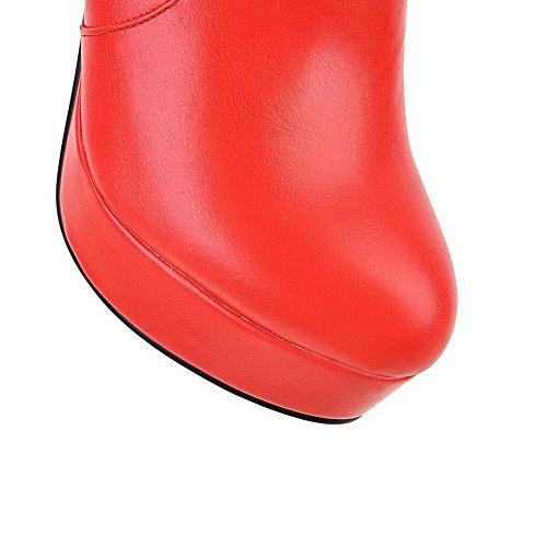 AllhqFashion Mujeres Caña Baja Tacón ancho Plataforma Puntera Redonda Botas con Metal Rojo