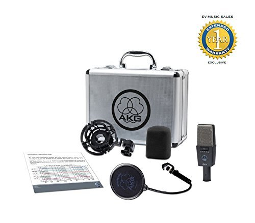 (AKG C414 XLS Reference Multipattern Condenser Microphone Dark Grey/Silver with 1 Year Free Extended Warranty)