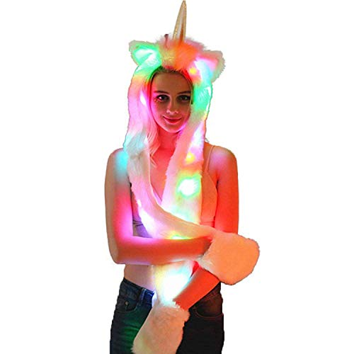 Unicorn Hat Women Hat Scarf Gloves Faux Fur Light Up Hood LED RGB Stripe Light Cosplay Costume for Christmas Wedding Party