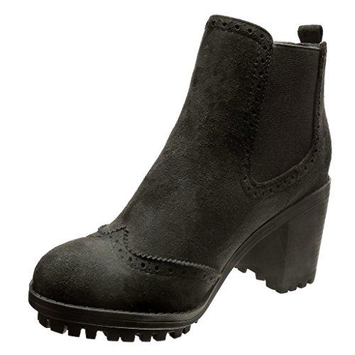 2ef023eece288d Angkorly - Chaussure Mode Bottine chelsea boots rangers femme perforée  Talon haut bloc 7 CM ...