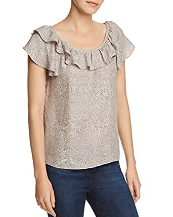 Rebecca Taylor Sprinkle Scoop-Neck Ruffle Dot-Print Silk Top, Parfait, 2