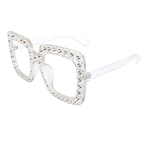 ROYAL GIRL Sunglasses For Women Oversized Square Crystal Brand Designer Glasses Clear Frame - Clear Sunglass