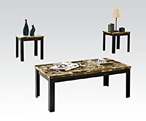 Black Faux Marble Top Black Coffee And End Table By Acme Furniture Kitchen Dining