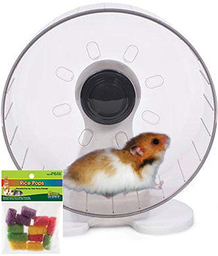 Syrian Hamster Wheel: 9.5 inch Prevue Quiet Wheel with Bearings Bundled with Ware Rice Pops (Best Size Wheel For Syrian Hamster)